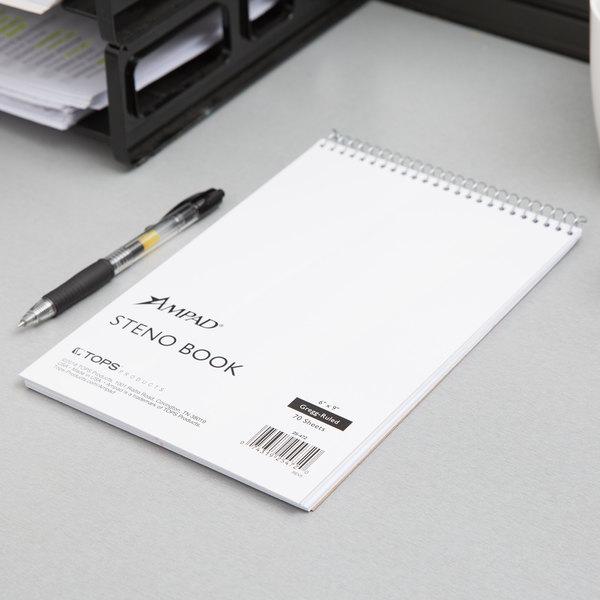 Ampad 25472 Steno Book White 6-Inch x9-Inch Gregg Ruled 70 Sheets 15 lb