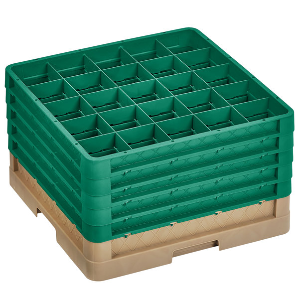 "Vollrath CR10FFFFF-32819 Traex® 9 Compartment Beige Full-Size Closed Wall 11"" Glass Rack with 5 Green Extenders"