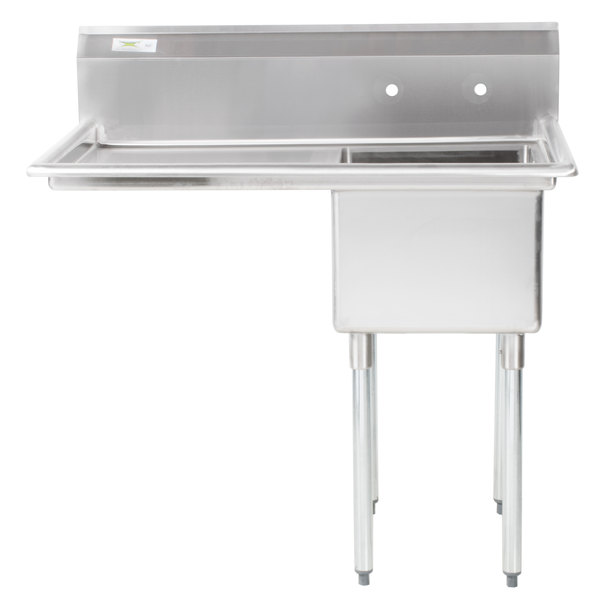 "Left Drainboard Regency 44"" 16 Gauge Stainless Steel One Compartment Commercial Sink with 1 Drainboard - 17"" x 23"" x 12"" Bowl"