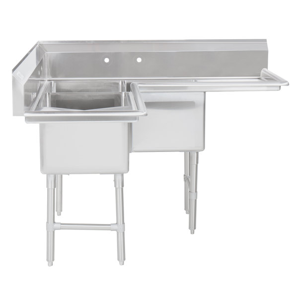 Regency 57 16 Gauge Stainless Steel Three Compartment Commercial Corner Sink With 2 Drainboards 18 X 18 X 14 Bowls