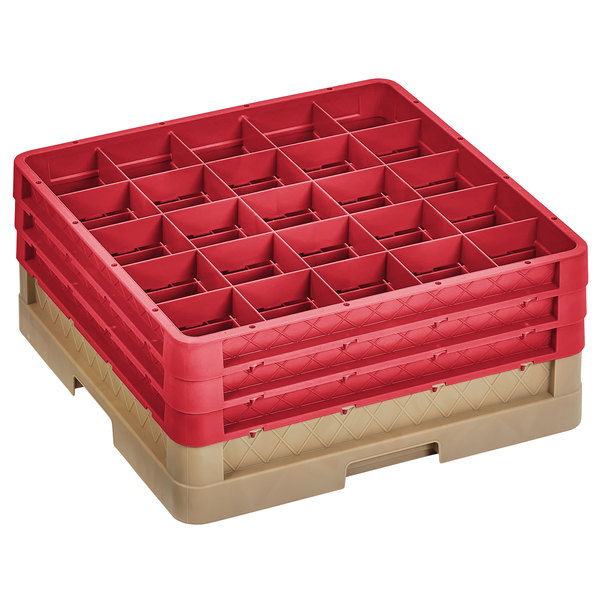 """Vollrath CR8DDD-32802 Traex® 16 Compartment Beige Full-Size Closed Wall 7 7/8"""" Glass Rack with 3 Red Extenders Main Image 1"""