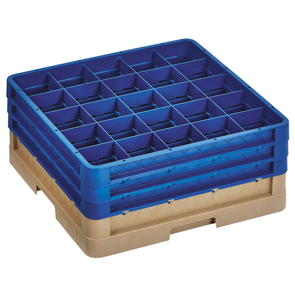 """Vollrath CR8DDD-32844 Traex® 16 Compartment Beige Full-Size Closed Wall 7 7/8"""" Glass Rack with 3 Royal Blue Extenders Main Image 1"""