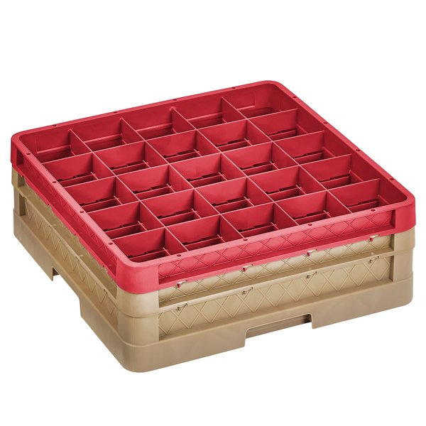 """Vollrath CR8DD-32902 Traex® 16 Compartment Beige Full-Size Closed Wall 6 3/8"""" Glass Rack with 1 Beige Extender, 1 Red Extender Main Image 1"""