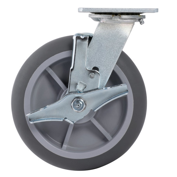 """Cambro 60259 Equivalent 8"""" Swivel Plate Caster with Brake for CVC Series Main Image 1"""