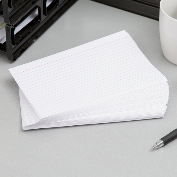 "Oxford OXF 51 5"" x 8"" White Ruled Index Card - 100/Pack"