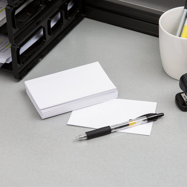 "Oxford OXF 30 3"" x 5"" White Unruled Index Card - 100/Pack"