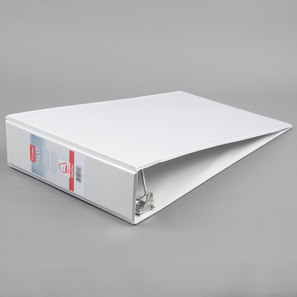 Cardinal CRD 22142 ClearVue 11 inch x 17 inch White Tabloid Size Binder with 3 inch Slant D Rings