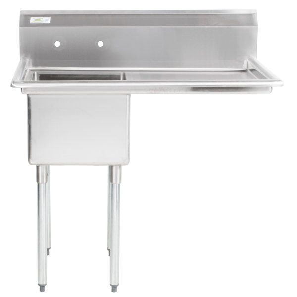 "Right Drainboard Regency 44"" 16 Gauge Stainless Steel One Compartment Commercial Sink with 1 Drainboard - 17"" x 23"" x 12"" Bowl"