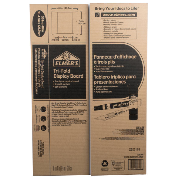 Elmer's 730300 24 inch x 36 inch White Tri-Fold Corrugated Display Board - 25/Case