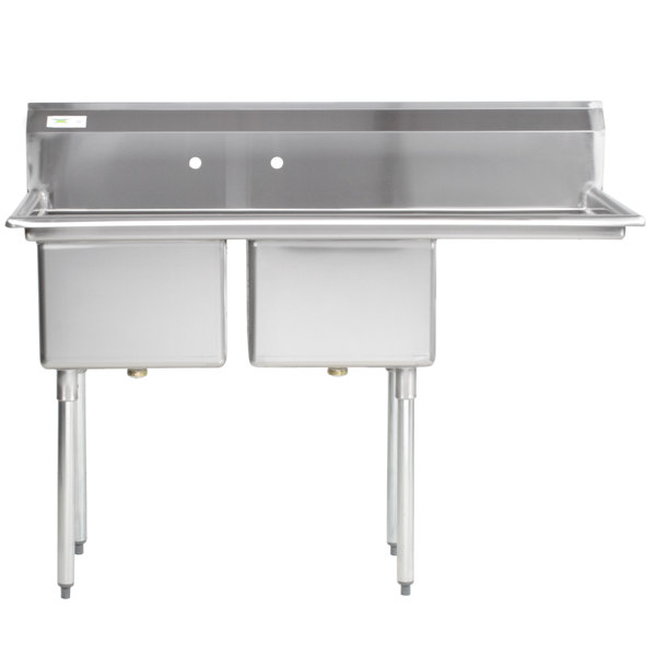 """Right Drainboard Regency 57"""" 16 Gauge Stainless Steel Two Compartment Commercial Sink with 1 Drainboard - 17"""" x 17"""" x 12"""" Bowls"""