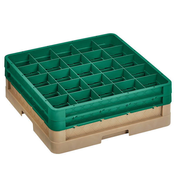 """Vollrath CR8DD-32819 Traex® 16 Compartment Beige Full-Size Closed Wall 6 3/8"""" Glass Rack with 2 Green Extenders Main Image 1"""