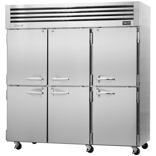 "Turbo Air PRO-77-6R-N 78"" Premiere Pro Series Three Section Solid Half Door Reach in Refrigerator"
