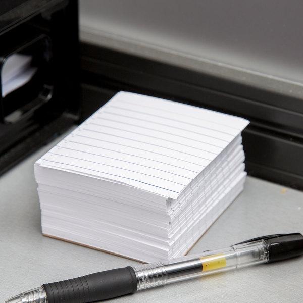 """Oxford OXF 10009 3"""" x 2 1/2"""" White Ruled Mini Index Card - 200/Pack"""