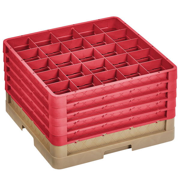 """Vollrath CR6BBBBB-32802 Traex® 25 Compartment Beige Full-Size Closed Wall 11"""" Glass Rack with 5 Red Extenders Main Image 1"""