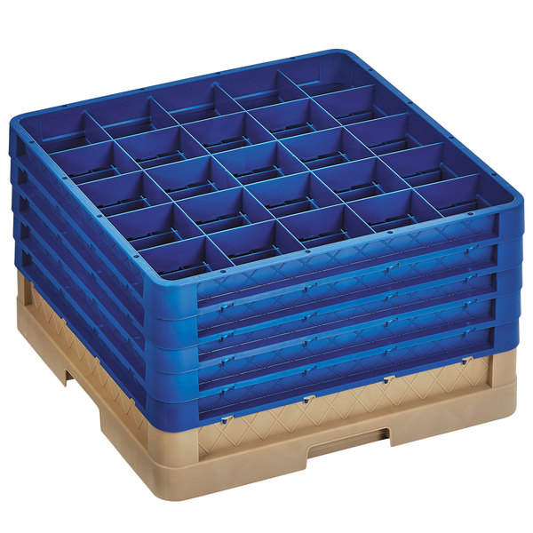 """Vollrath CR6BBBBB-32844 Traex® 25 Compartment Beige Full-Size Closed Wall 11"""" Glass Rack with 5 Royal Blue Extenders Main Image 1"""