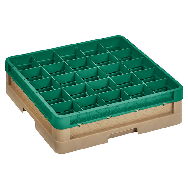 """Vollrath CR6B-32919 Traex® 25 Compartment Beige Full-Size Closed Wall 4 13/16"""" Glass Rack with 1 Green Extender Main Image 1"""