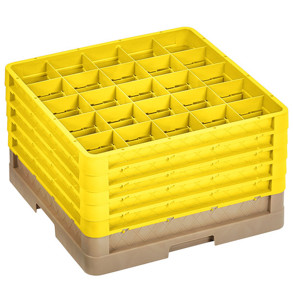"""Vollrath CRLBBBBB-32808 Traex® 25 Compartment Beige Full-Size Closed Wall 11"""" Glass Rack with 5 Yellow Extenders Main Image 1"""