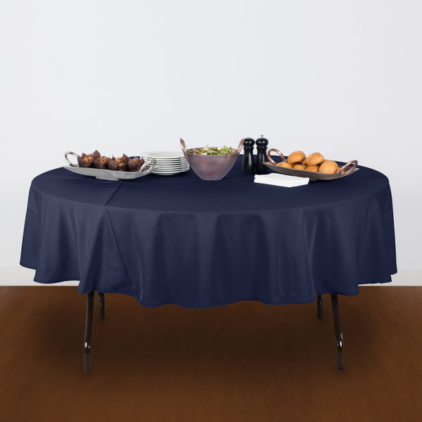 """90"""" Round Navy Blue 100% Polyester Hemmed Cloth Table Cover"""