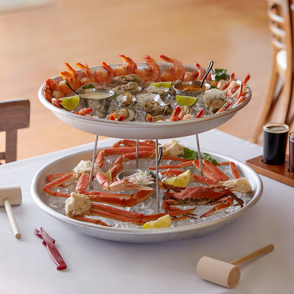 Choice 2-Tier Seafood Tower Set with Large Aluminum Trays and Stand