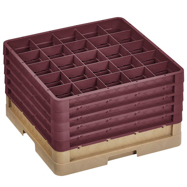 "Vollrath CR7CCCCC-32821 Traex® 36 Compartment Beige Full-Size Closed Wall 11"" Glass Rack with 5 Burgundy Extenders"
