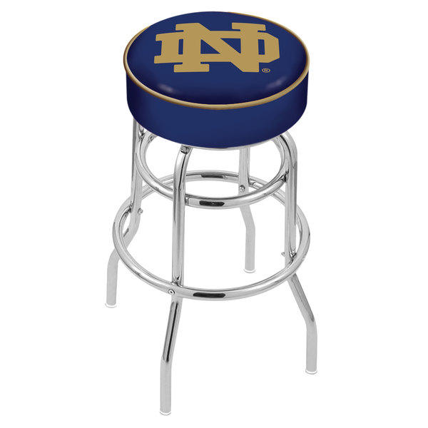 """Holland Bar Stool L7C130ND-ND Notre Dame Double Ring Swivel Bar Stool with 4"""" Padded Seat Main Image 1"""