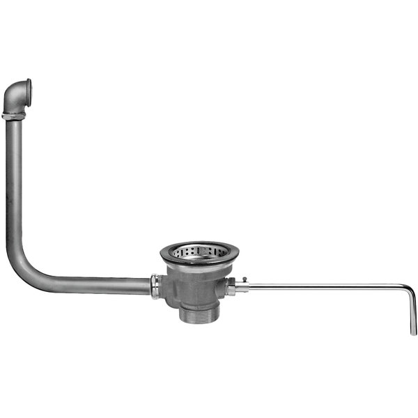 """Fisher 22314 DrainKing Brass Lever Handle Waste Valve with 3 1/2"""" Sink Opening, 1 1/2"""" / 2"""" Drain Opening, Basket Strainer, and Overflow Pipe Main Image 1"""