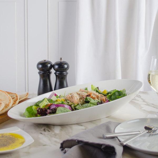 Bon Chef 1100014P Slanted Oval 26 oz. White Porcelain Bowl - 6/Pack