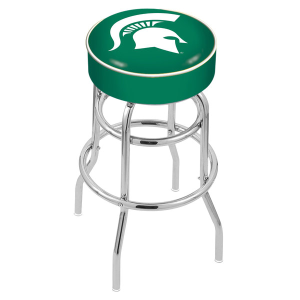 "Holland Bar Stool L7C130MichSt Michigan State University Double Ring Swivel Bar Stool with 4"" Padded Seat"
