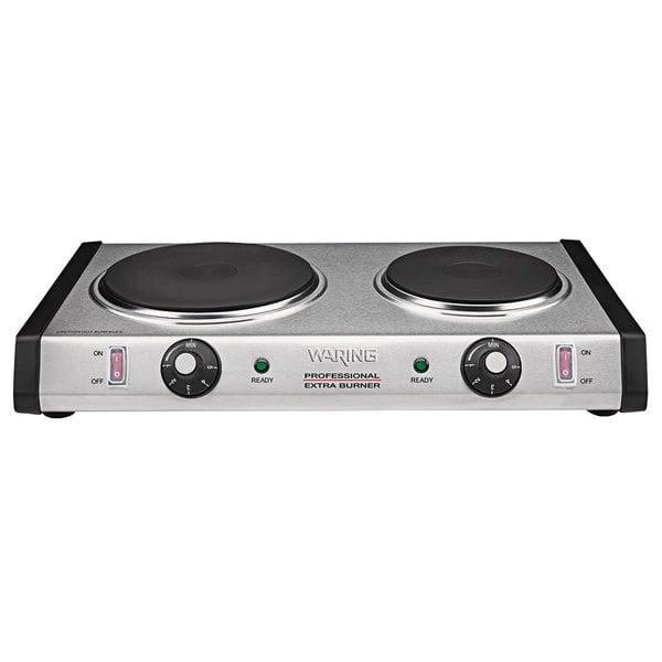 Waring WDB600 Double Burner Solid Top Countertop Range - 1800W Main Image 1