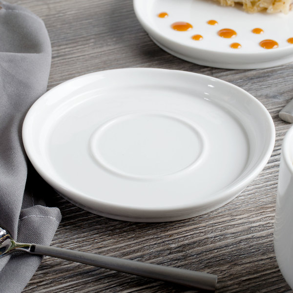 """Bon Chef 1500006P Mid Century 6"""" White Porcelain Saucer - 36/Case"""