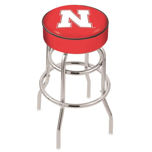 "Holland Bar Stool L7C130NebrUn University of Nebraska Double Ring Swivel Bar Stool with 4"" Padded Seat Main Image 1"