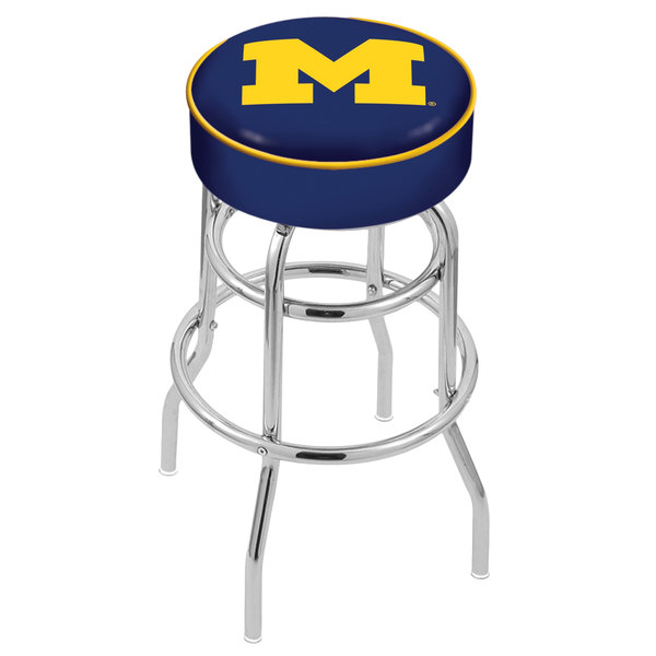"Holland Bar Stool L7C130MichUn University of Michigan Double Ring Swivel Bar Stool with 4"" Padded Seat Main Image 1"