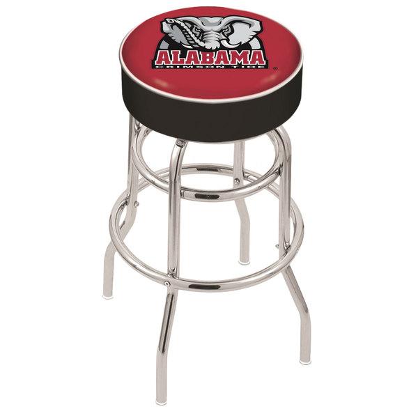 "Holland Bar Stool L7C130AL-Ele University of Alabama Double Ring Swivel Bar Stool with 4"" Padded Seat"