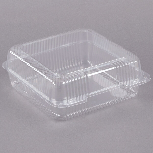 Dart C50UTD StayLock 9 1/8 inch x 9 1/2 inch x 3 5/8 inch Clear Hinged Plastic 9 inch Square High Dome Container - 250/Case