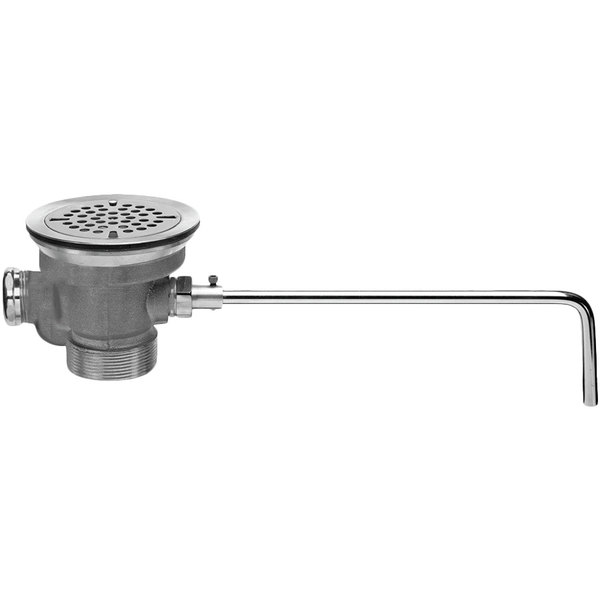 """Fisher 22438 DrainKing Brass Lever Handle Waste Valve with 3 1/2"""" Sink Opening, 1 1/2"""" / 2"""" Drain Opening, Flat Strainer, and Overflow Port"""
