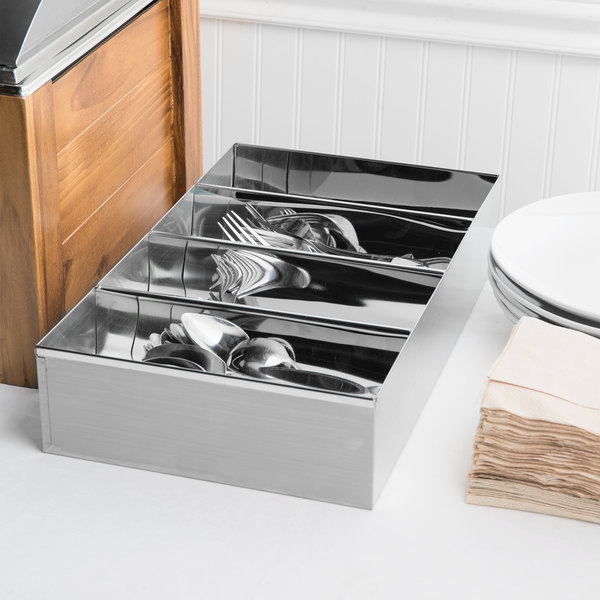 Choice 4-Compartment Stainless Steel Cutlery Box Main Image 4