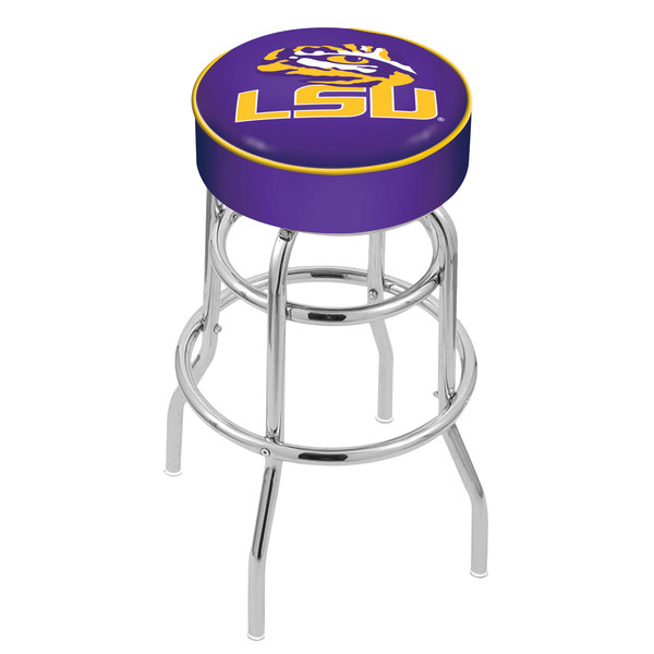 "Holland Bar Stool L7C130LaStUn Louisiana State University Double Ring Swivel Bar Stool with 4"" Padded Seat"