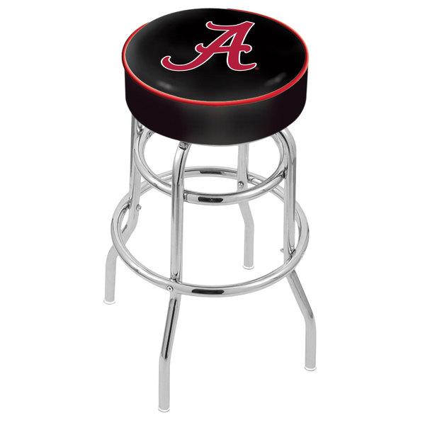 "Holland Bar Stool L7C130AL-A University of Alabama Double Ring Swivel Bar Stool with 4"" Padded Seat"