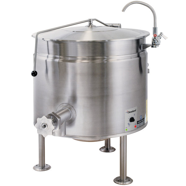 Cleveland KEL-60-SH Short Series 60 Gallon Stationary Full Steam Jacketed Electric Kettle - 208/240V Main Image 1