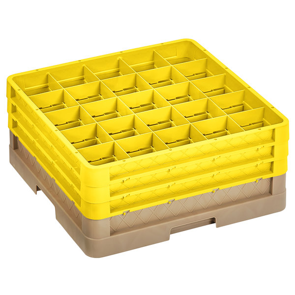 """Vollrath CR9EEE-32808 Traex® 49 Compartment Beige Full-Size Closed Wall 7 7/8"""" Glass Rack with 3 Yellow Extender"""