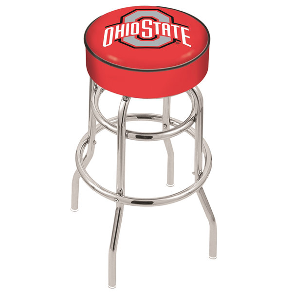 "Holland Bar Stool L7C130OhioSt Ohio State University Double Ring Swivel Bar Stool with 4"" Padded Seat"