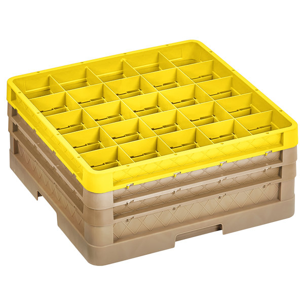 """Vollrath CR9EEE-32908 Traex® 49 Compartment Beige Full-Size Closed Wall 7 7/8"""" Glass Rack with 2 Beige Extenders, 1 Yellow Extender Main Image 1"""