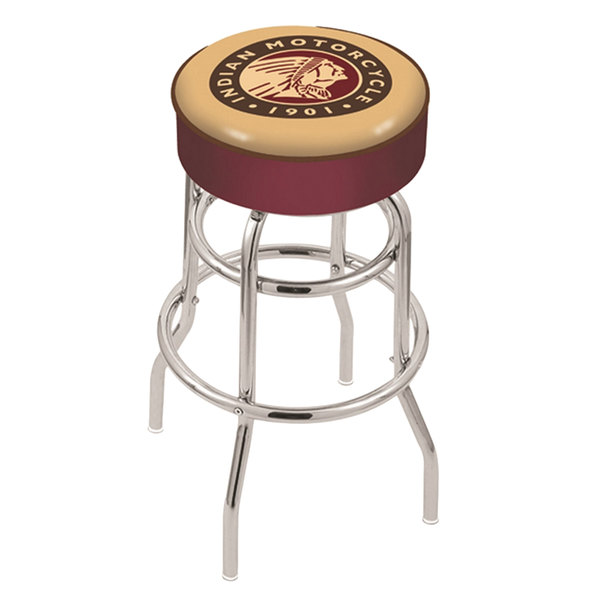 "Holland Bar Stool L7C130Indn-HD Indian Motorcycle Double Ring Swivel Bar Stool with 4"" Padded Seat Main Image 1"
