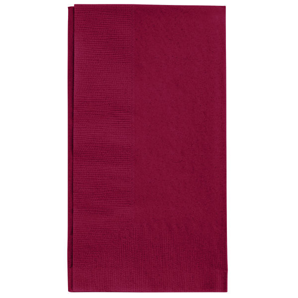 Burgundy Paper Dinner Napkin, Choice 2-Ply Customizable, 15 inch x 17 inch - 1000/Case