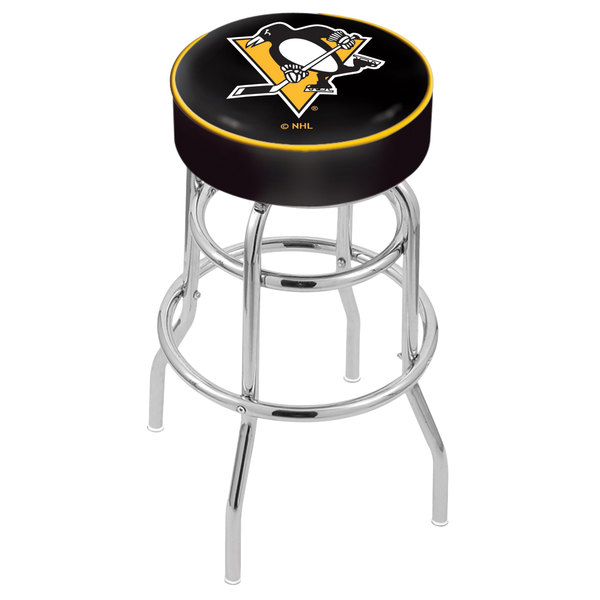 "Holland Bar Stool L7C130PitPen Pittsburgh Penguins Double Ring Swivel Bar Stool with 4"" Padded Seat"