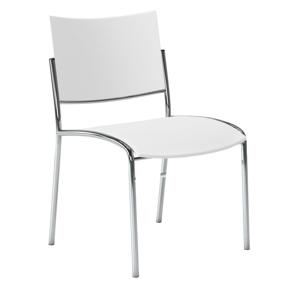 Gentil Mayline ESC2W Escalate White Plastic Stacking Chair With Chrome Base    4/Case