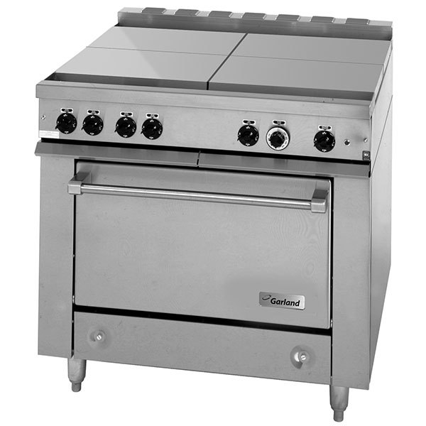 Garland 36es35 Heavy Duty Electric Range With 4 Boiler Top Sections And Storage Base 240v