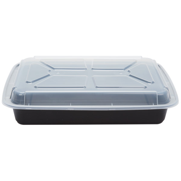 Newspring NC-989-B 58 oz. Black 8 1/2 inch x 11 1/2 inch x 1 1/2 inch VERSAtainer Rectangular Microwavable Container with Lid - 150/Case