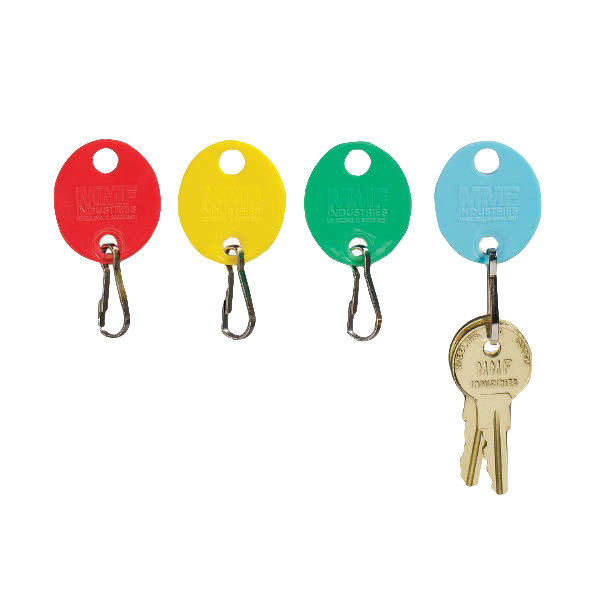 """Steelmaster 2018009W47 1 1/2"""" x 1 1/2"""" Assorted Color Oval Snap-Hook Key Tag - 20/Pack Main Image 1"""