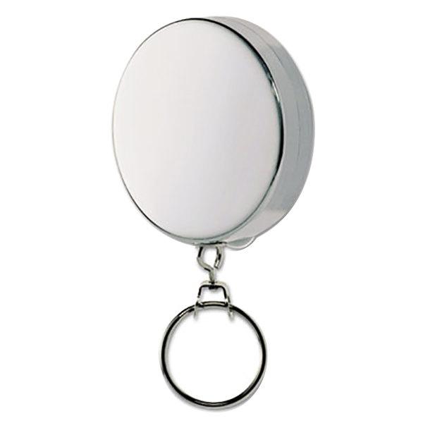 "Steelmaster 201490150 2"" Nickel / Silver 24"" Retractable Chain Circle Key Reel"